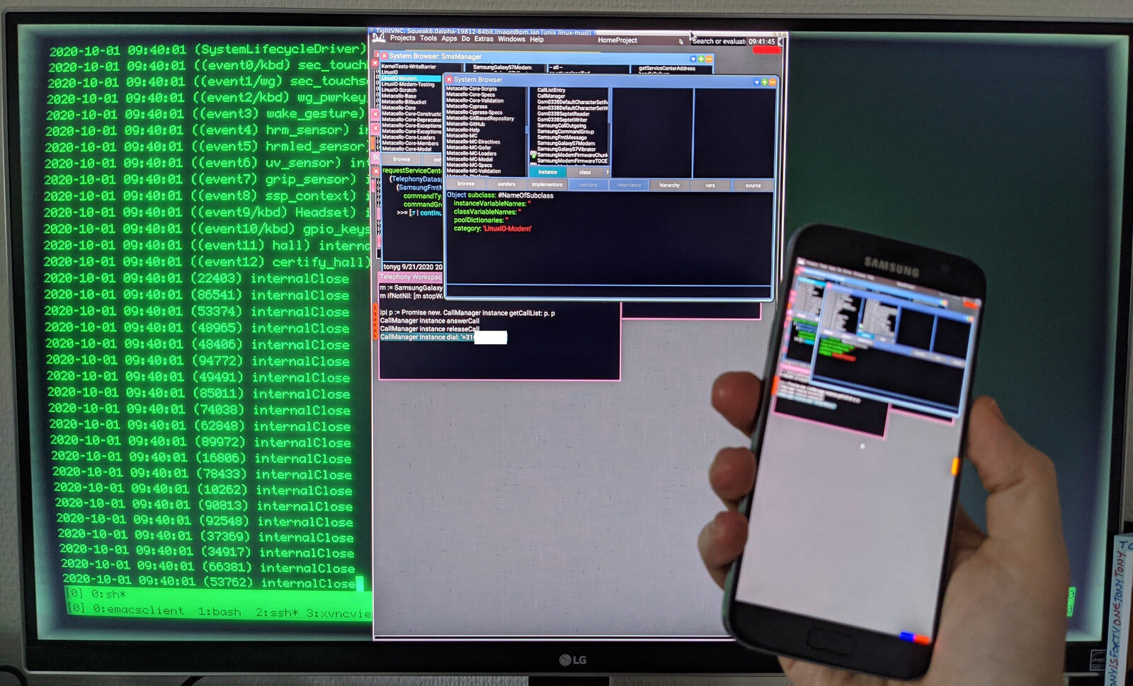Using VNC to develop system code in Smalltalk on the phone itself