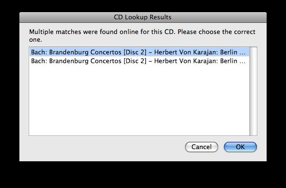 iTunes CD Lookup Results dialog